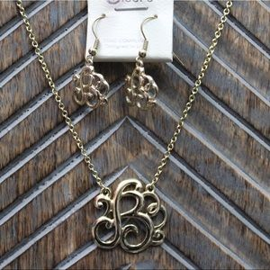 Jewelry - B Monogram Gold Necklace and Earrings
